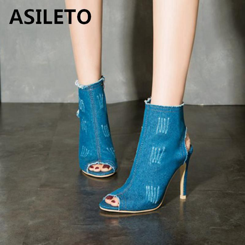 0e8feba8174f ASILETO Blue Jeans Boots 2019 Summer Shoes Thin High Heels Shoes Boots  Sandals Denim Peep Toe Botas Bottines Mujer B560 Peep Toe Booties Cat Boots  From ...