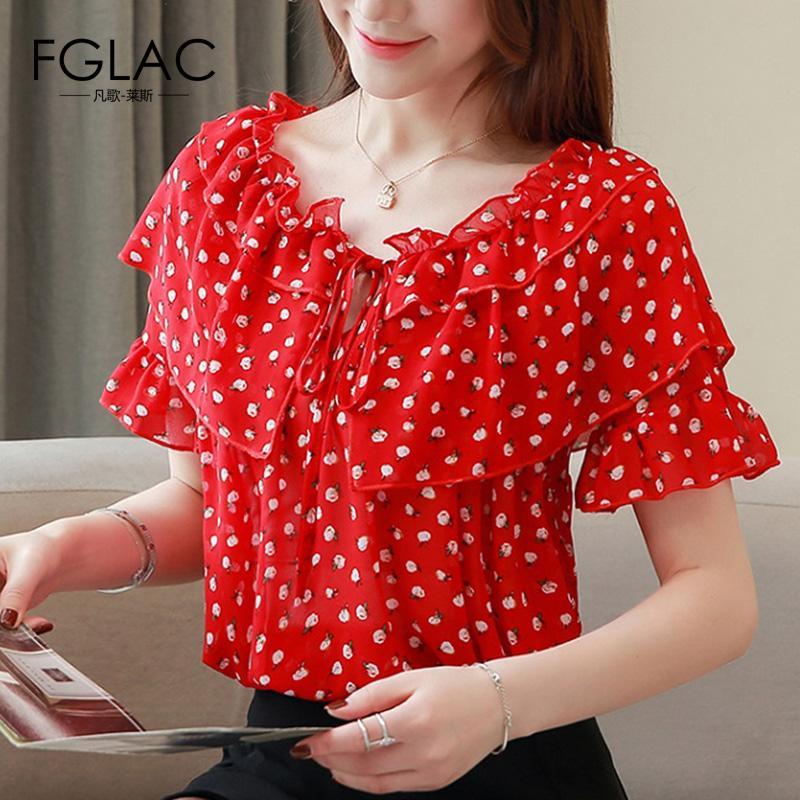 chemisier mode pour femme 2019 point vague blouse en mousseline de soie chemise à manches courtes femmes chemises bureau Ruffle