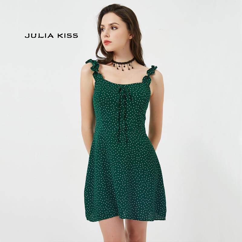 7dae1d3c8f37c Women Frill Trim Polka Dot Green Cami Dress Vintage Mini Cami Dress With  Bowknot Front Y19012201
