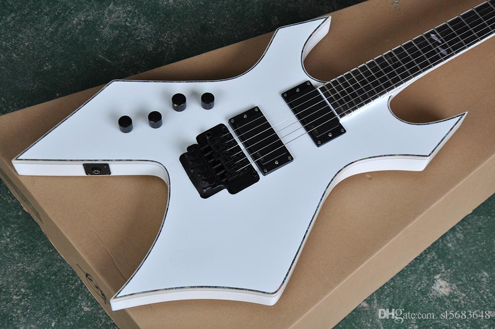 Free shipping! Wholesale Custom Unusual Shape White Electric Guitar with Rosewood Fretboard,Black Hardware,Colorful Binding 0721