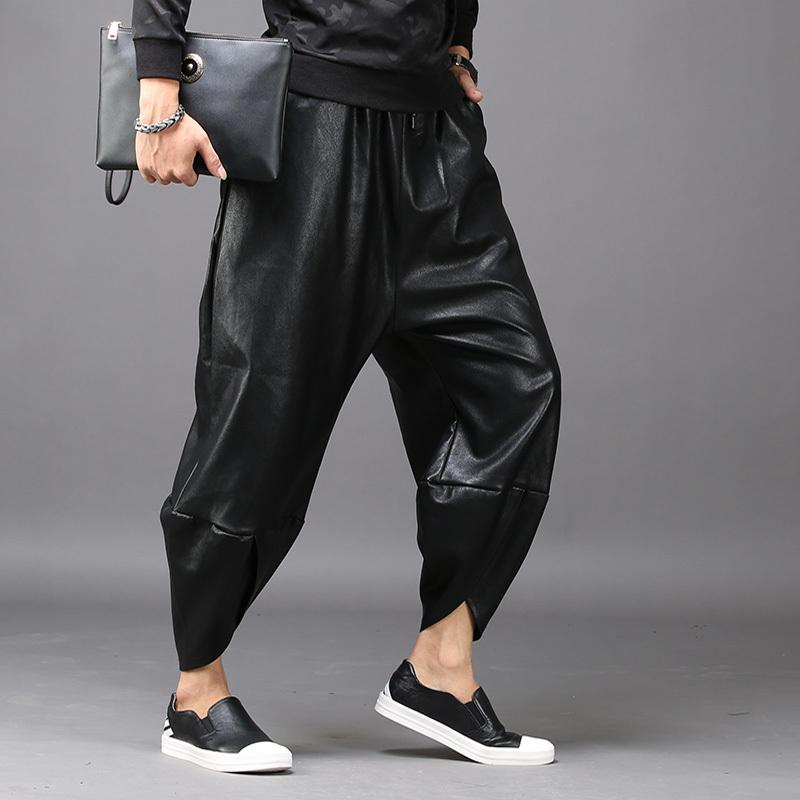 7308da18433ac Compre   2246 Primavera Otoño Invierno Punk Estilo Faux Leather Pants  Hombres Personalidad Hip Hop Pantalones Harem Low Cross Loose High Street A   70.2 Del ...