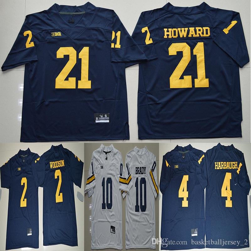 715b20a2d ... cheap 2018 michigan wolverines football college jerseys 10 tom brady 2  charles woodson 4 jim harbaugh