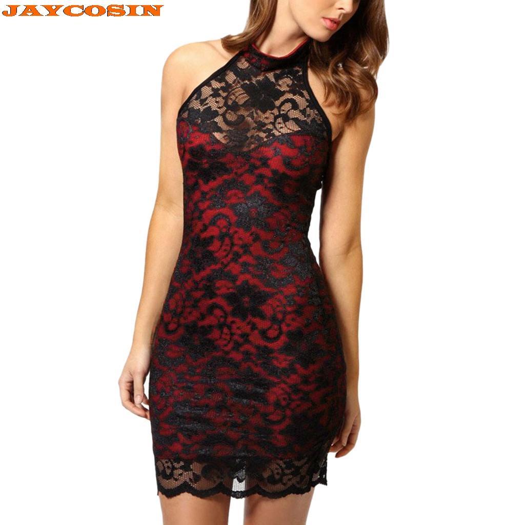 2e4ae0f71 Compre Vestido De JAYCOSIN Mujer Verano 2019 Poliéster Sexy Encaje Encuadre  De Cuerpo Entero Encaje Vestido Elegante Con Cuello Halter Fiesta Nuevo A   22.12 ...