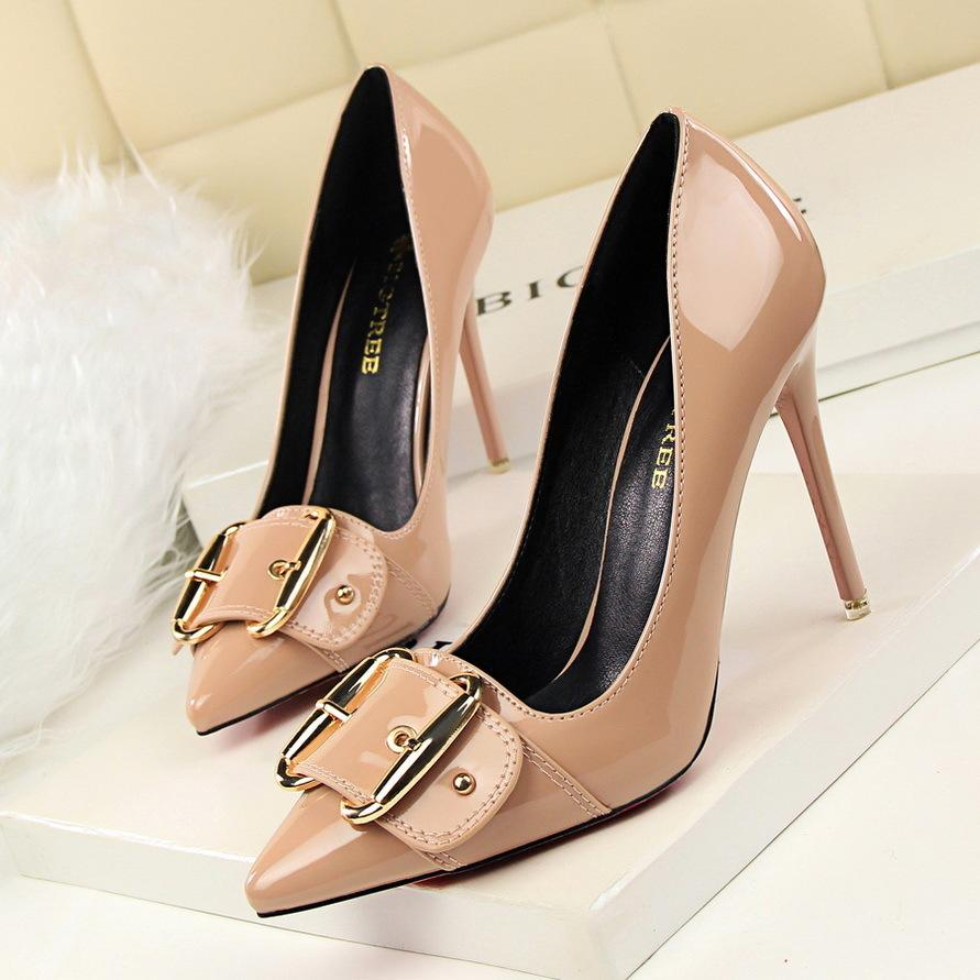 7cd4baadbd43 Dress 2019 New Elegant Metal Belt Buckle Women S Office Shoes Fashion  Patent Leather Women Pumps Pointed Toe High Heels Shoes Shallow Pink Shoes  Munro Shoes ...