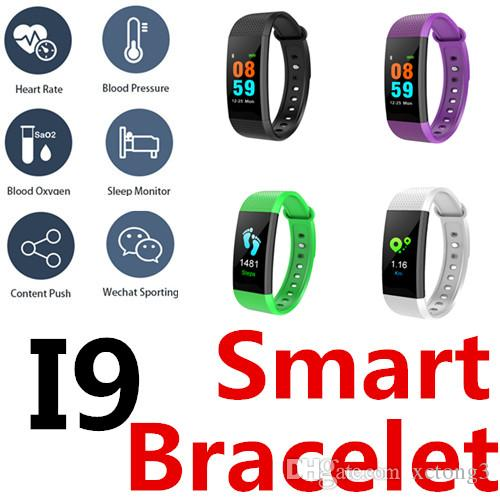 I9 Smart Bracelet Mini TFT color screen Blood Oxygen&Pressure Heart rate IPness tracker Call WeChat QQ face book SMS Bottom touch IP67