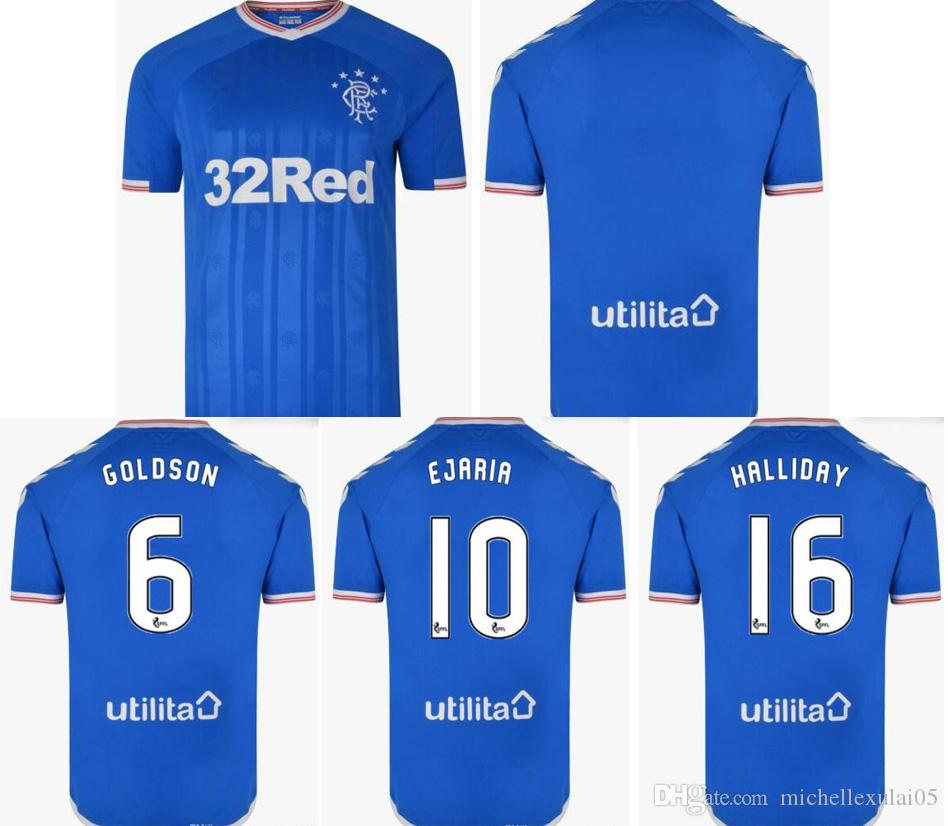 f60670fe41f 2019 2020 Glasgow Rangers home football jerseys GOLDSON player's top thai  quality soccer shirts HALLIDAY EJARIA TAUERNIER shorts sleeve tops