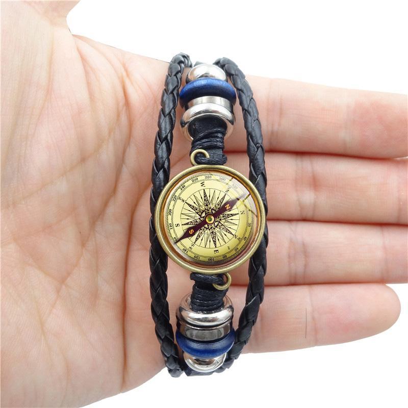 XUSHUI XJ Vintage Compass Glass Cabochon Charm Bracelet Handmade Diy Multi-layer Weave Leather Bracelets for Men Women Jewelry
