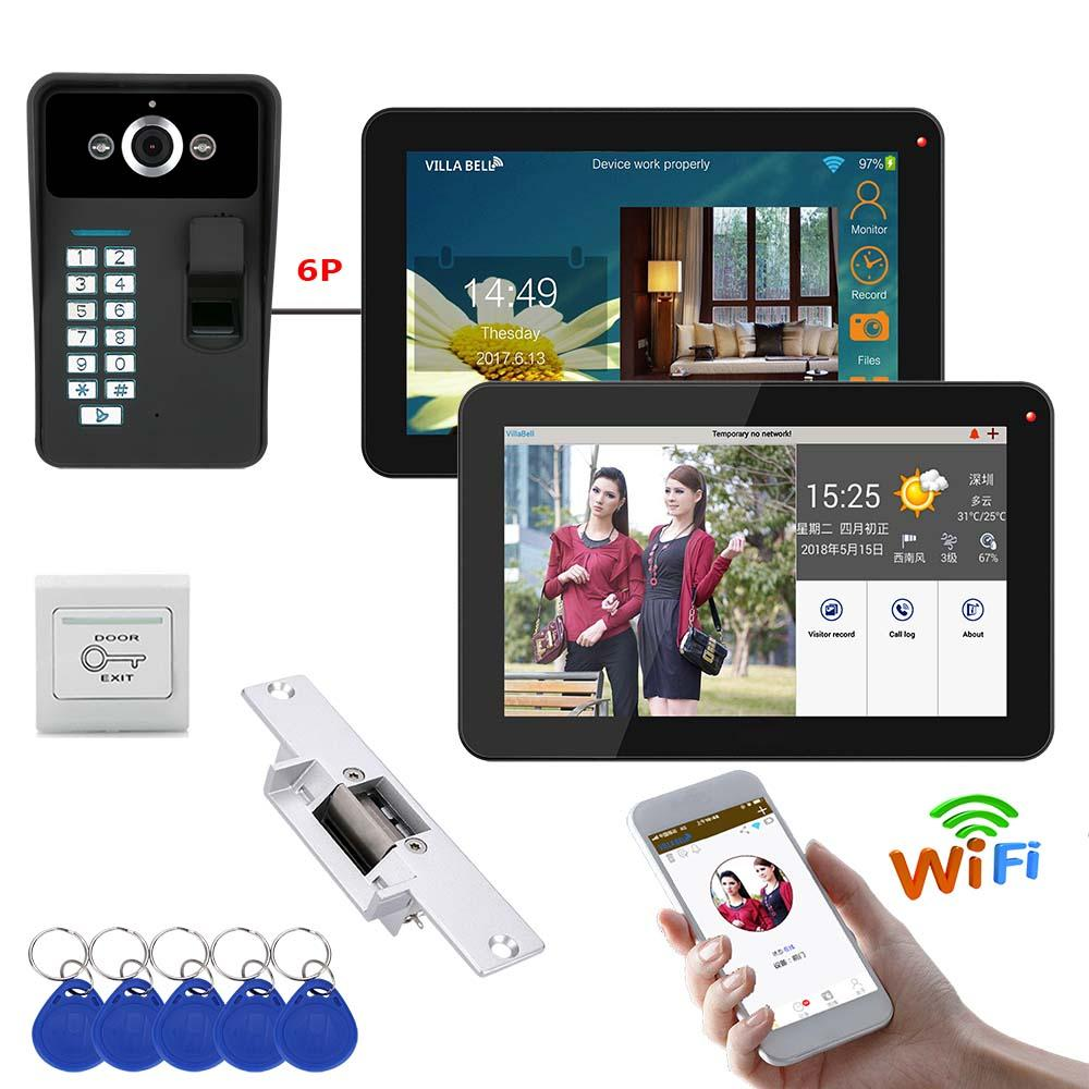 9 polegada 2 Monitores Wired / Wireless Wifi Fingerprint Telefone Video Da Porta Campainha Intercom Sistema com Bloqueio de Greve Elétrica