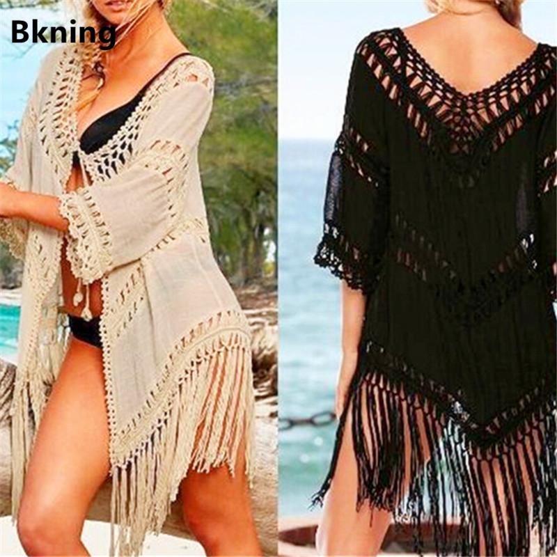 7709a0c421d5 2019 nuevas mujeres sexy borla de crochet túnica playa encubrir Derss  verano Bikini Cover-Up Swim Wear V cuello manga traje de baño Beige