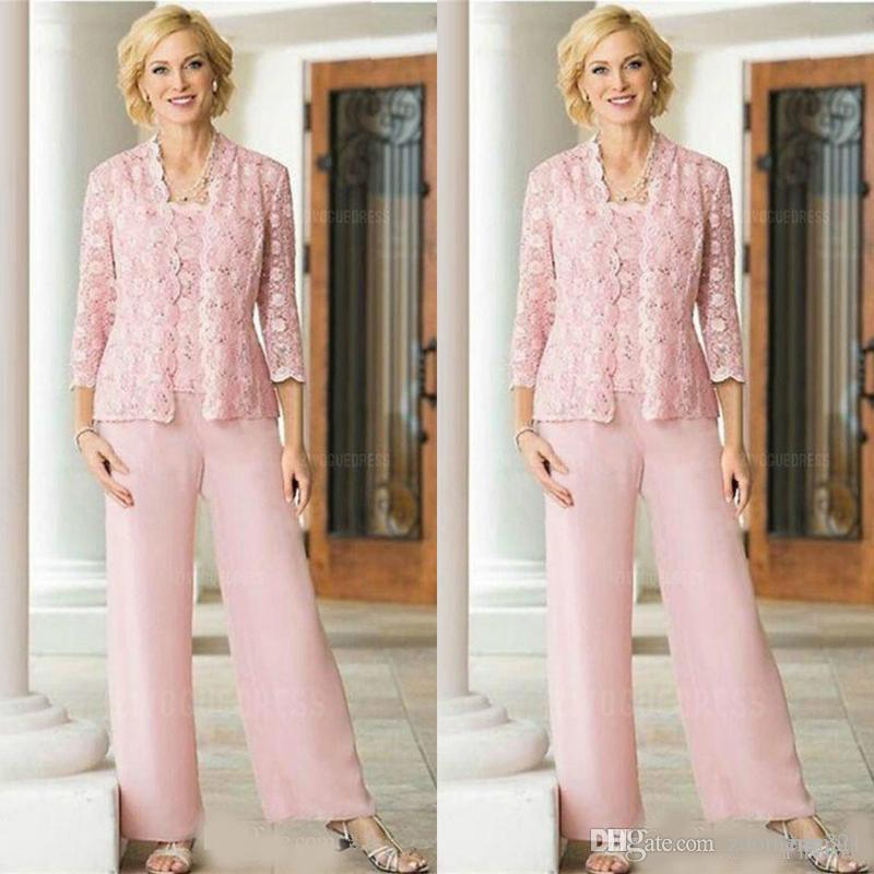 Pink Lace Chiffon Three Pieces Mother Of the Bride Pant Suit with Long Sleeve Jacket 2019 Plus Size Women Prom Party Pantsuit