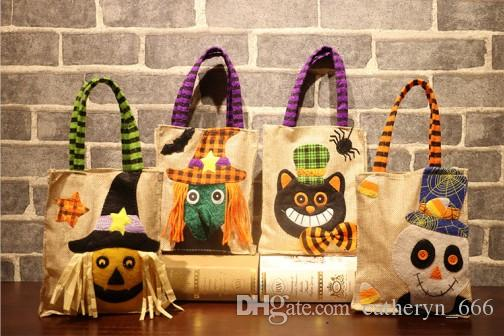 Halloween Linen Pumkin Bag Trick or Treat Children Evening Party Dress Up Bag Reusable Candy Bag for Trick or Treating Grocery Shopping