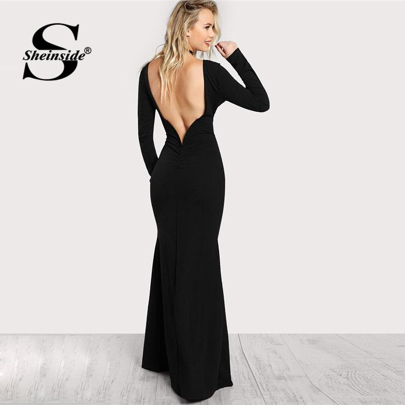 Sheinside Black Long Sleeve Open Back Bodycon Maxi Dress Boat Neck