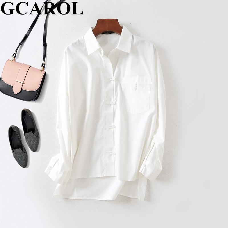 Gcarol Early Spring Turn Down Collar Women Ol Work Shirt Asymmetric Length A Pocket Blouse Neat White Perfect Basics Tops Q190509