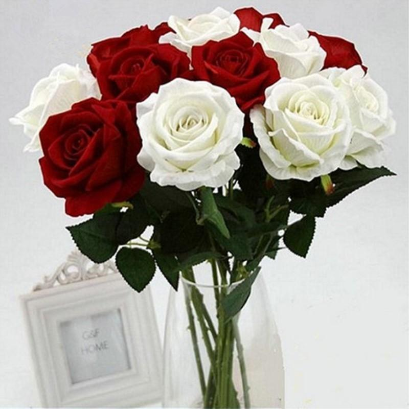 11pcs Romantic Rose Artificial Flower Diy Red White Silk Fake Flower For Party Home Wedding Decoration Valentine's Day T8190626