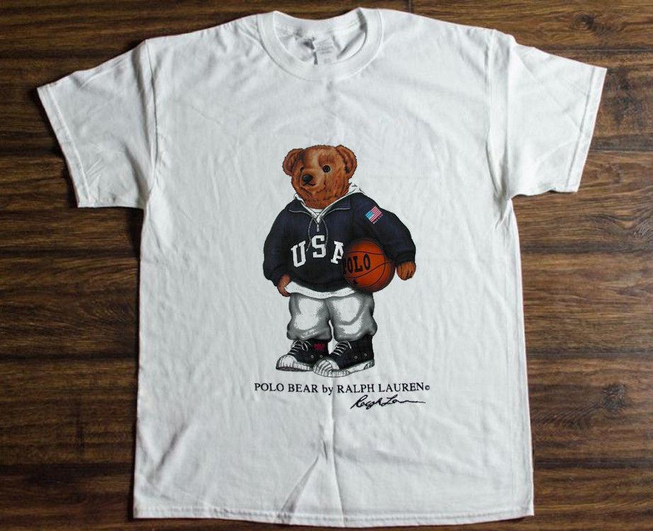 Compre Mens Designer Camiseta Camisetas Vintage T Shirt Dos Anos 90 POLO  Urso Basquete Esporte Reprint De Wear5 faac225fdc8