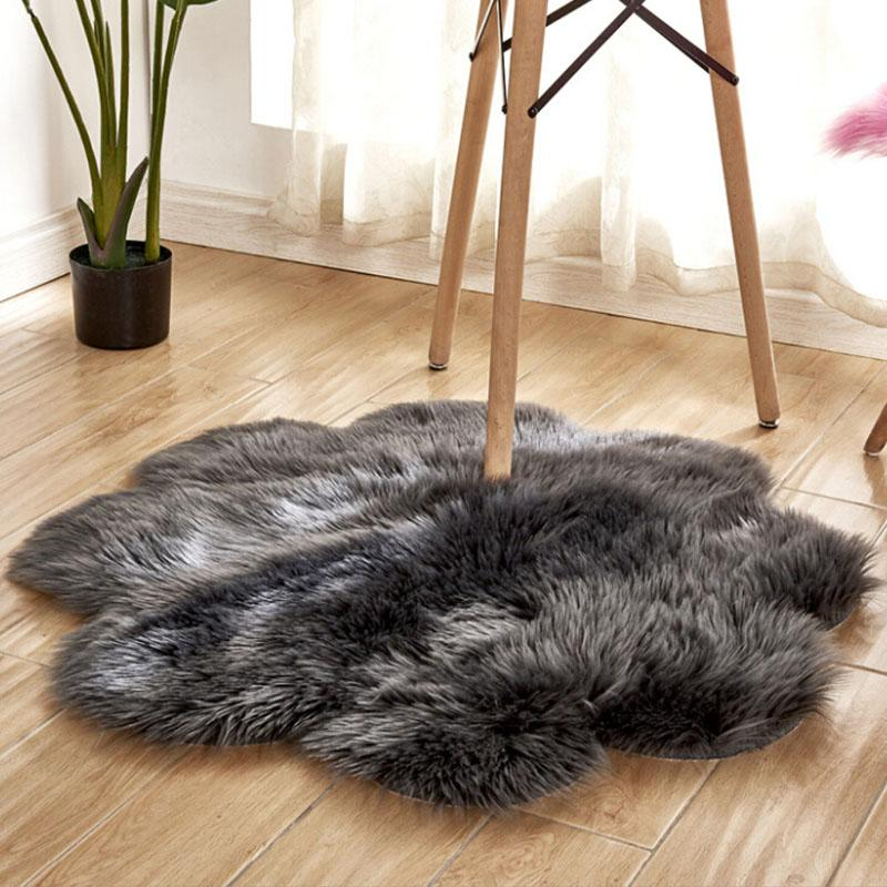 Fluffy Rug Carpets for Living Room Decor Faux Fur Carpet Kids Room Long  Plush Rugs Bedroom Shaggy Area Rug Round Star Flower Mat