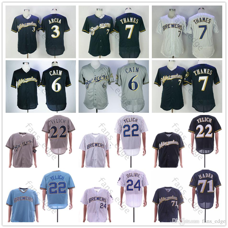 4b6894e57 2019 Mens Milwaukee 22 Christian Yelich Jersey 3 Orlando Arcia 6 Lorenzo  Cain 71 Josh Hader 7 Eric Thames 4 Paul Molitor 19 Robin Yount Jerseys From  ...