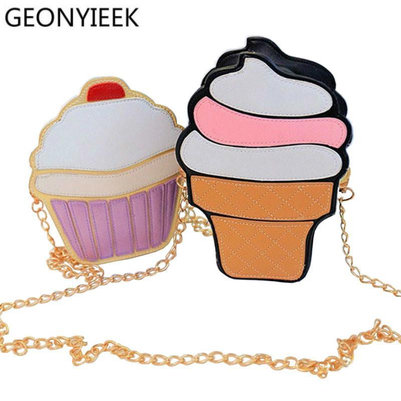 8f3a65d47f853 Cheap 2018 Cute Ice Cream Cupcake Women Bag PU Leather Small Chain Clutch  Girl Messenger Crossbody Shoulder Bags Female Purse Handbags Womens Purses  Leather ...