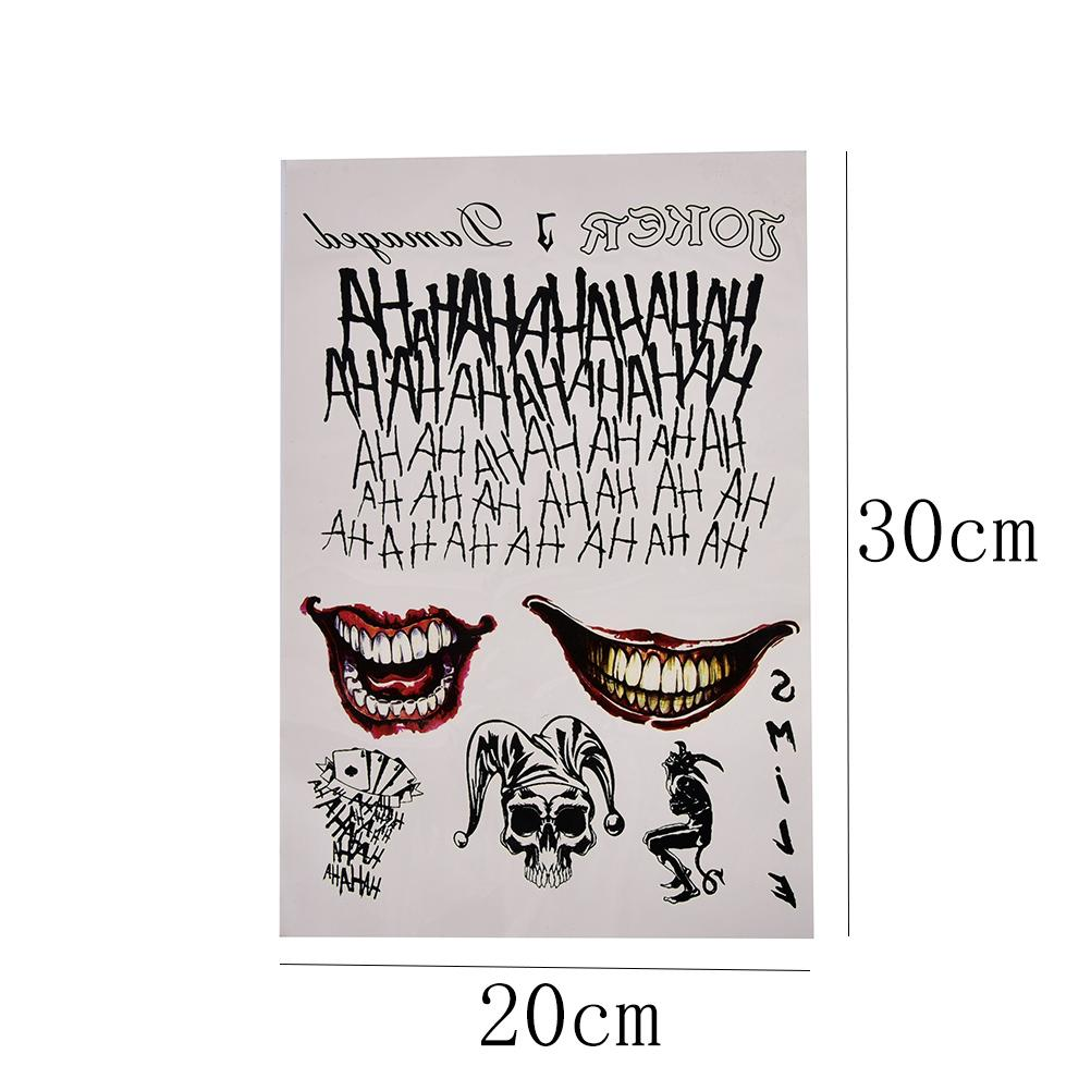 Joker Temporary cosplay Tatuaggi Suicide Squad Costume Adesivi tatuaggio temporaneo di Halloween 20 * 30cm