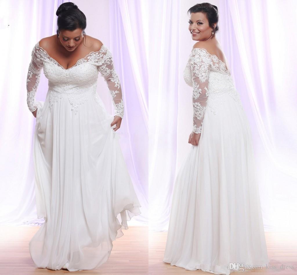 Plus Size Lace Wedding Dresses 2020 New Custom Made Long Sleeve Off-the-shuolder Maternity Empire Chiffon Bridal Gowns Vestido De Novia W203