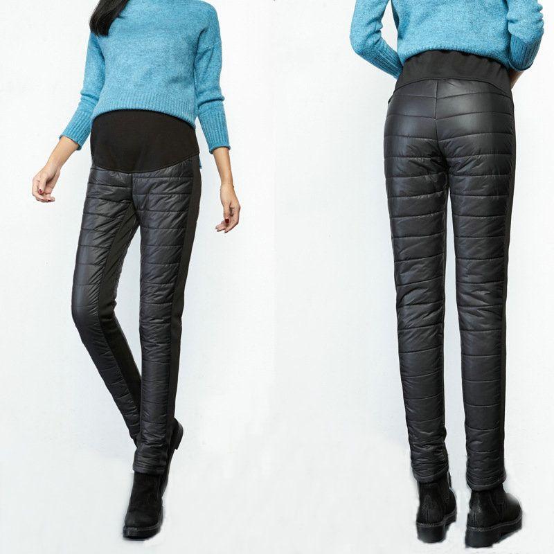 3405d1789 Compre Más Abajo Engrosamiento Pantalones De Maternidad Pantalones De  Invierno Otoño Mujeres Embarazadas Cálidos De Cintura Alta Cuidado Del  Embarazo ...
