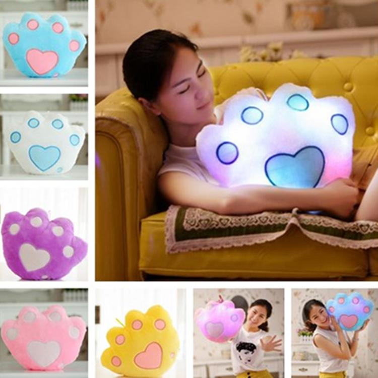 New creative color cute bear paw pillow Plush Pillows toy doll Glow pillow Bedding high quality Pillows T7I5042
