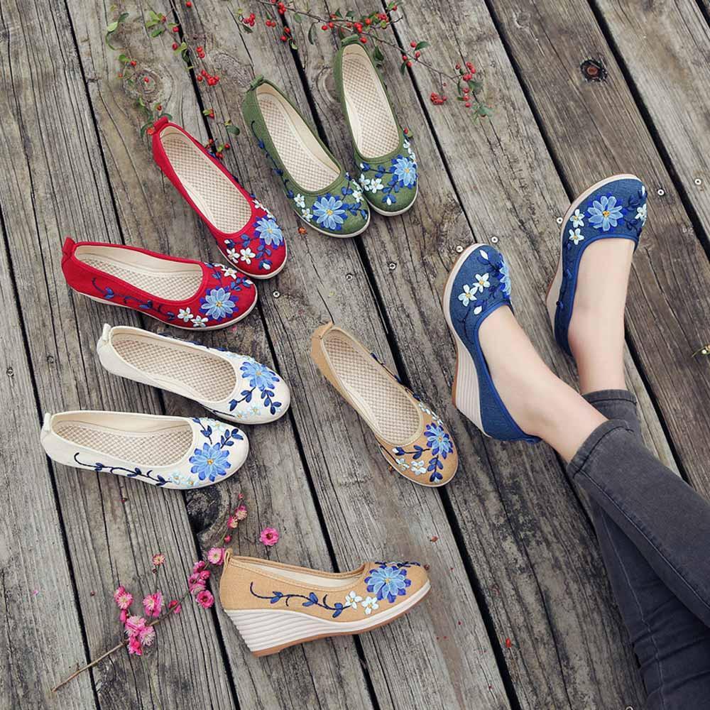 6388dce774db Zapatos Klv New Women Of National Style y lino con bordado en la parte  inferior de la costilla Casual Woman Sandal Pumps Women # 8