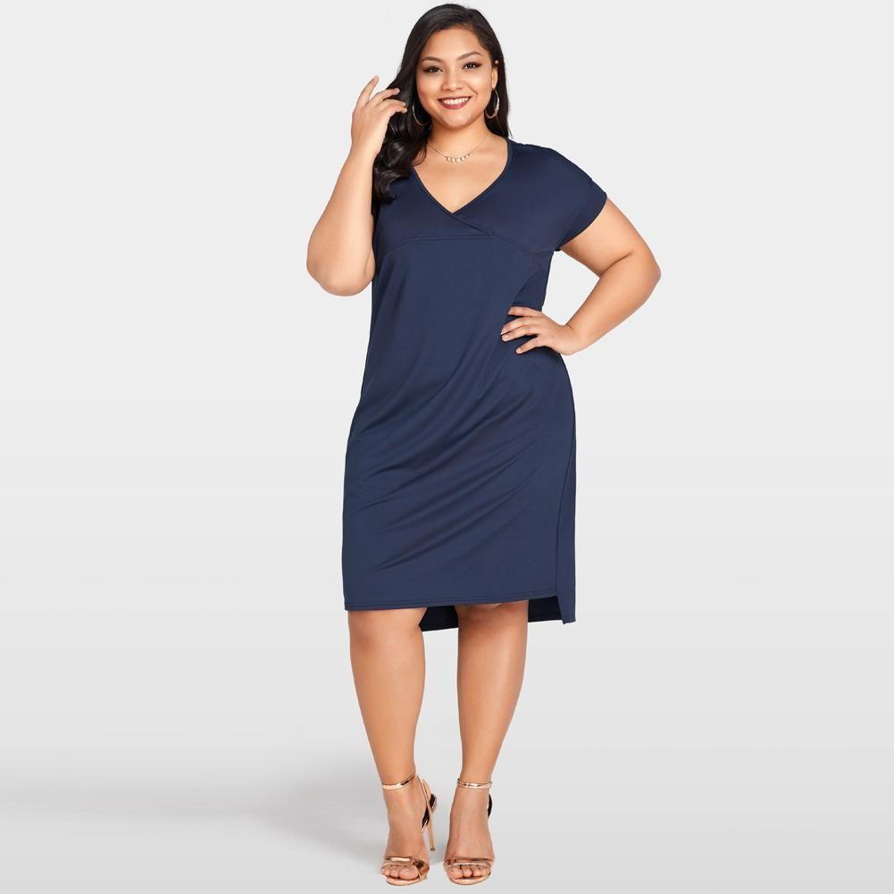 Women Summer Plus Size Dress Deep V Neck Solid Casual T-shirt Dress Loose  Vestidos 2019 Dark Blue Basic Dress Womens Clothing