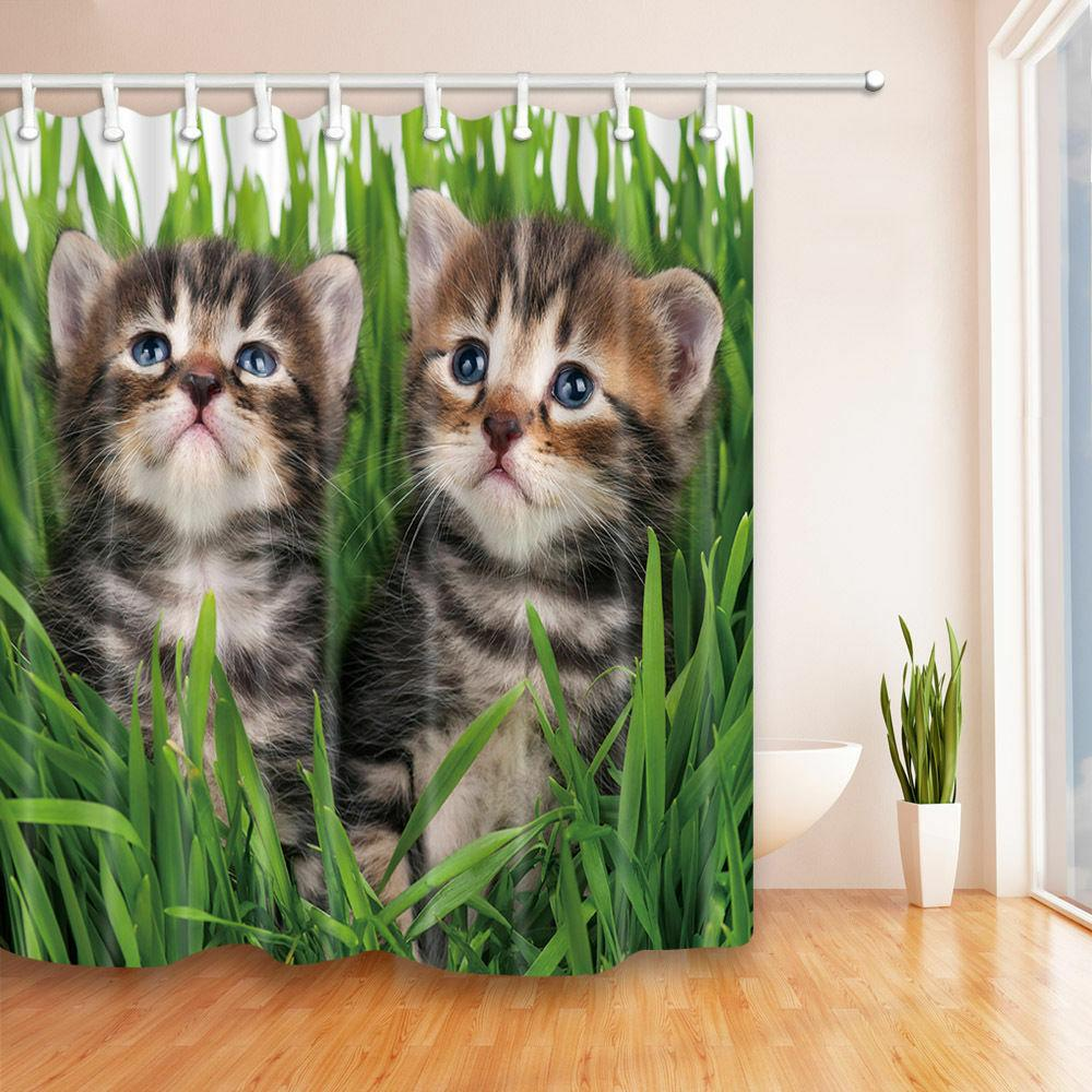 Two cats hiding in the grass home Shower curtain Durable Fabric Mildew Bathroom Accessories Creative with 12 Hooks 180X180CM