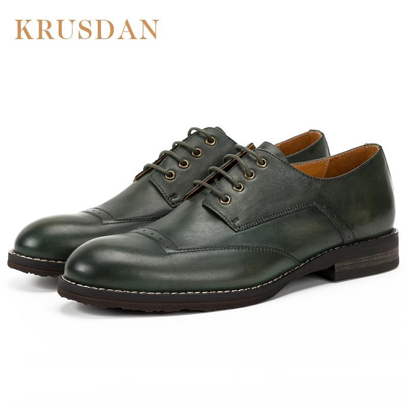 Hombre Marca Cuero Genuino Krusdan Zapatos Compre De qBwEER