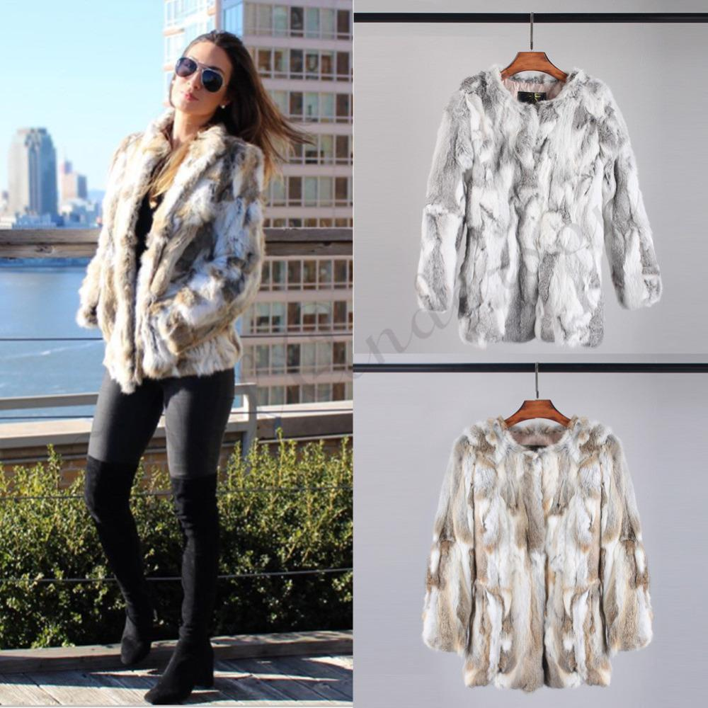 e533fb7c55698 Ethel Anderson Real Farm Rabbit Fur Coat Striped Pattern Full Length Sleeve Coat  Hip Length Outwear D19011001 Jackets Online Wool Jacket From Shen05