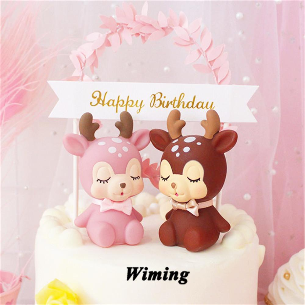 decoration cupcake toppers cake decorating supplies kids party gifts funny  toys deer party favors for kids birthday cake topper