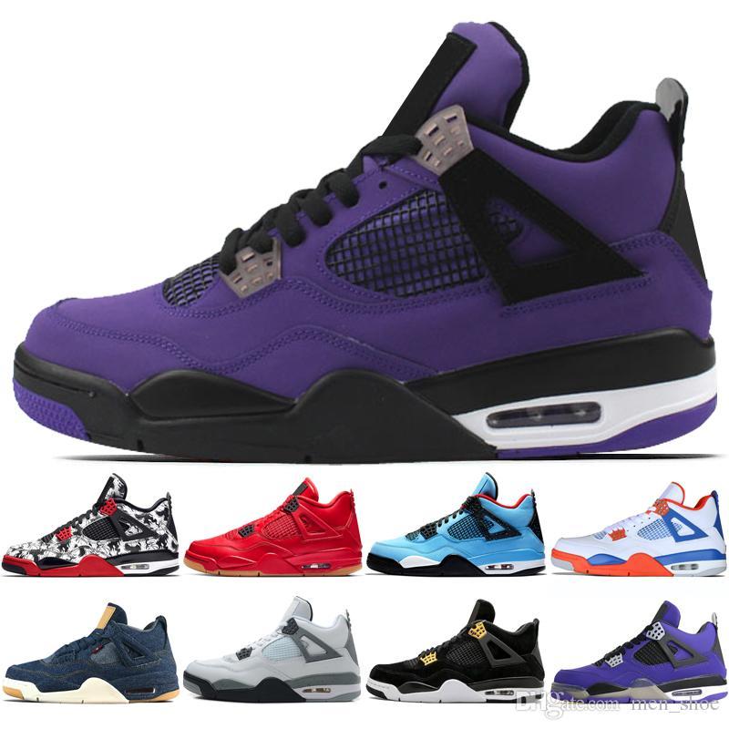 80de05eccda 4 4s Black Gum Day Men Basketball Shoes Travis Scotts Raptors White Cement  Fire Red Toro Bravo men sports sneakers designer trainers