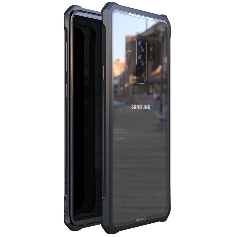 For Samsung S9 S8 Plus Note9 Bumper Note 9 8 Aluminum Metal Frame With Clear Transparent Tempered Glass Back Cover Phone Cases T190710
