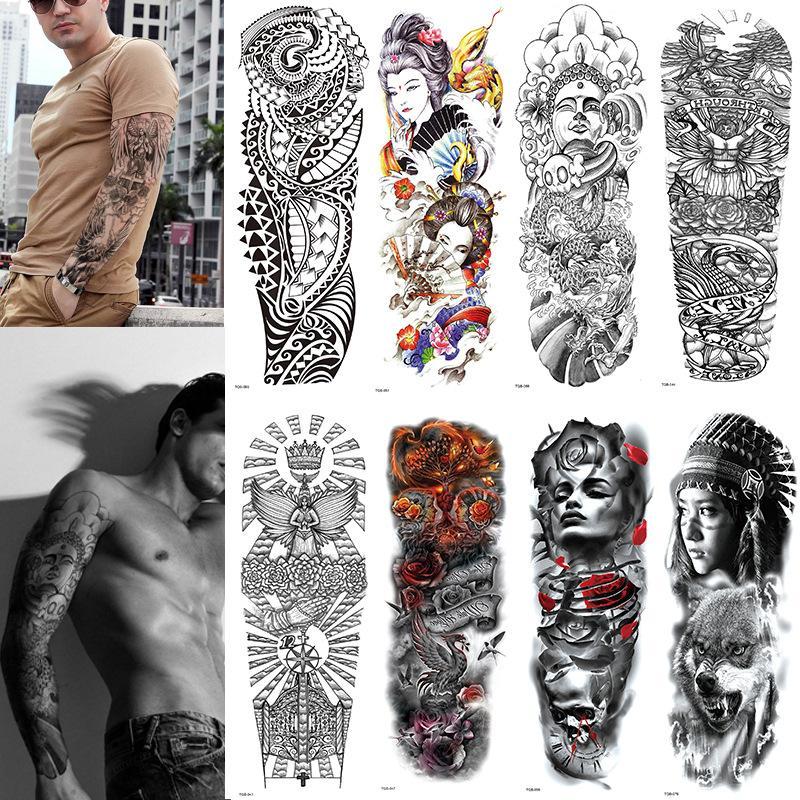 Large Arm Sleeve Tattoo Waterproof Temporary Tattoo Sticker Skull Angel Rose Lotus Men Full Flower Tatoo Body Art Girl