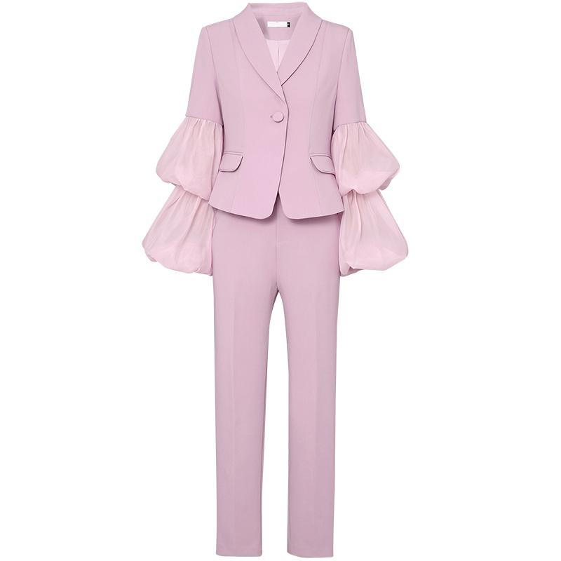 2019 Sexy Fashion Pant Suits Set Long Puff Sleeve Mesh Spliced Top Women 2 Pieces Pencil Pant Sets Women Two Piece Outfits