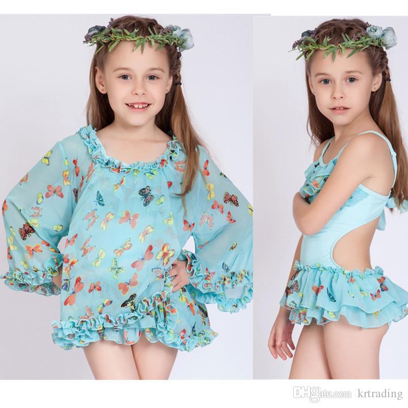 7969c31fbda Big girls 2pc set swimwear kids butterfly print Hot spring skirt bathing  suit shirt blouse+bikini wrinkled swimsuit for 4-13T