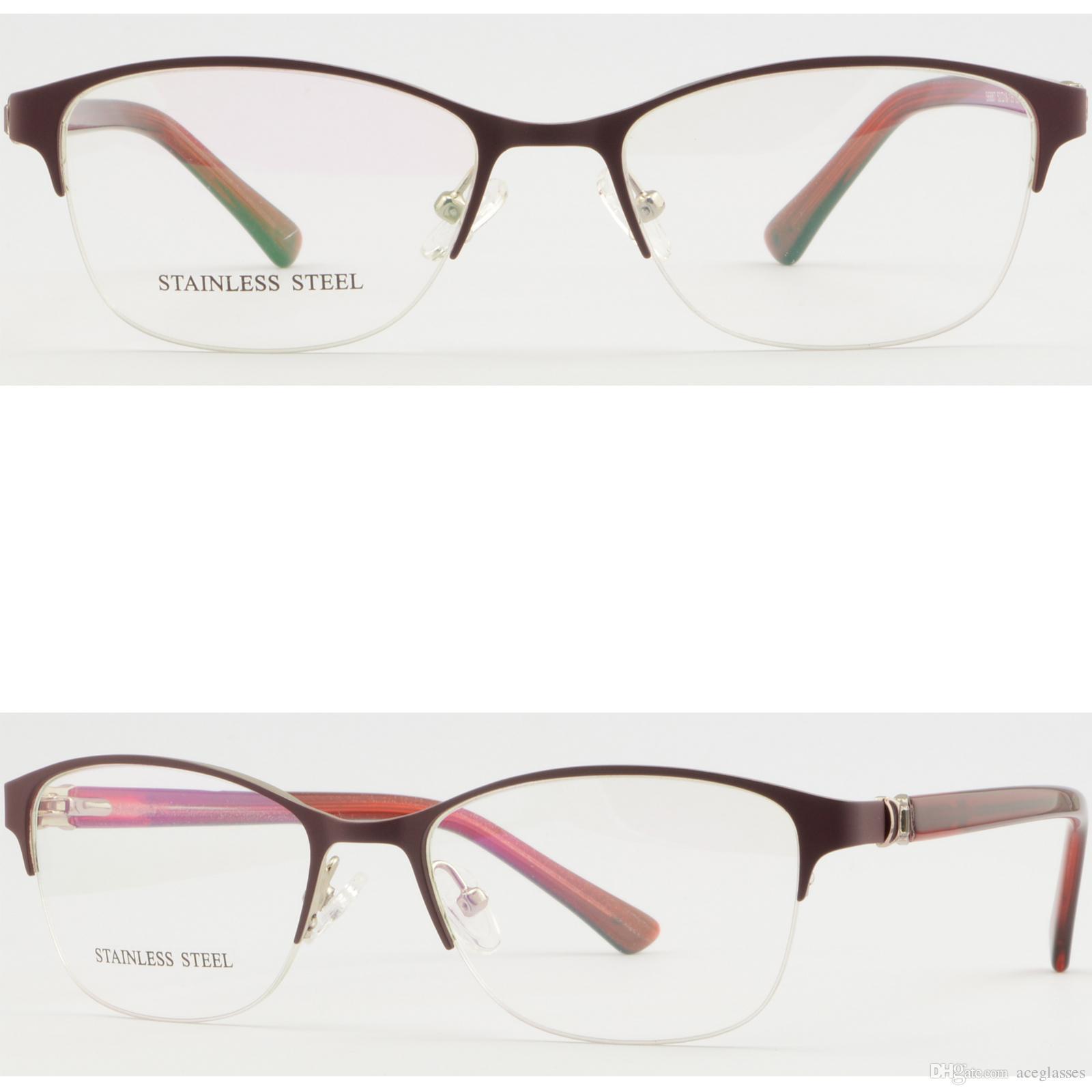 6a6e658a9a Half Rim Womens Metal Frame Red RX Prescription Glasses Eyeglasses Spring  Hinges Plastic Frames Popular Eyeglass Frames From Aceglasses