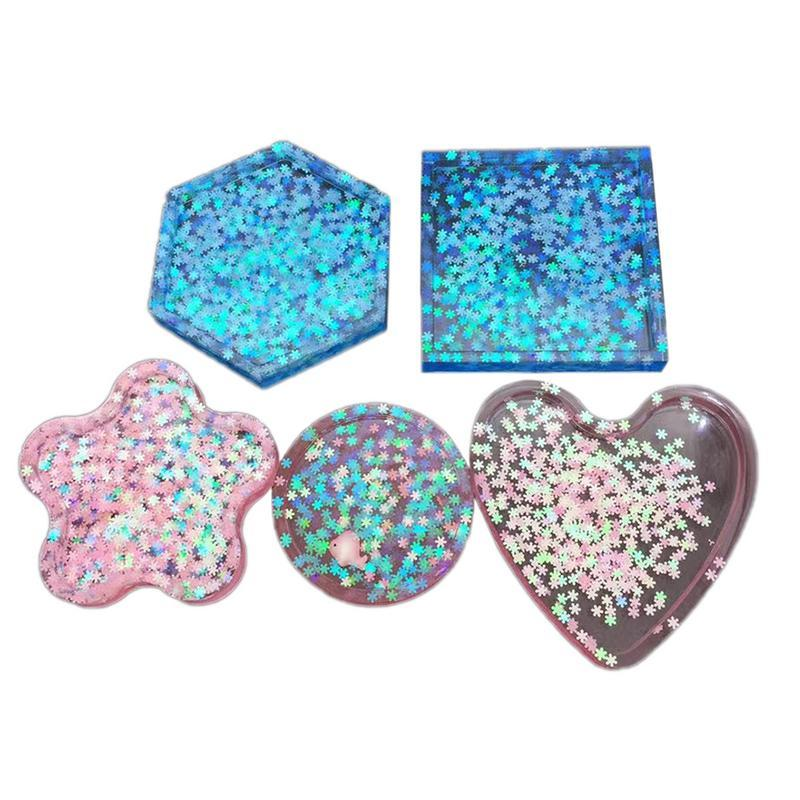 DIY Silicone Kitchen Table Coaster Mould Crystal Epoxy 5 Six-Sided Square Disk Base Cup Coaster Plum Love Pendant