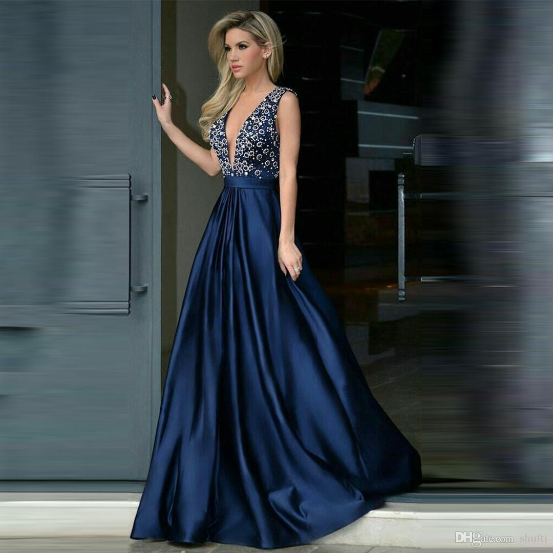 beaf14dc55d 2019 Elegant Blue Evening Dresses Deep V Neck Sleeveless A Line Open Back  Pleated Luxurious Beaded Prom Dress Formal Evening Gown Ivory Evening Dress  Long ...