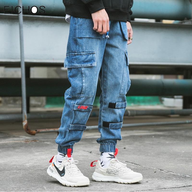 Pantalon Bleu D Salopette Hop Été Multi Streetwear Vintage Mode Coton Mâle Poches Jeans Baggy Hip Harem Hommes Denim Jogger 54ARj3qL