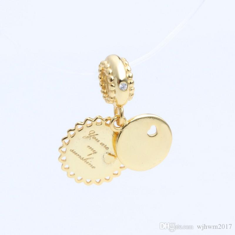 80b7424d8aad03 2019 New Real 925 Sterling Silver Bead You Are My Sunshine Pendant 18K Gold  Plating Charm Fit Original Women Pandora Bracelets DIY Jewelry From  Wjhwm2017, ...