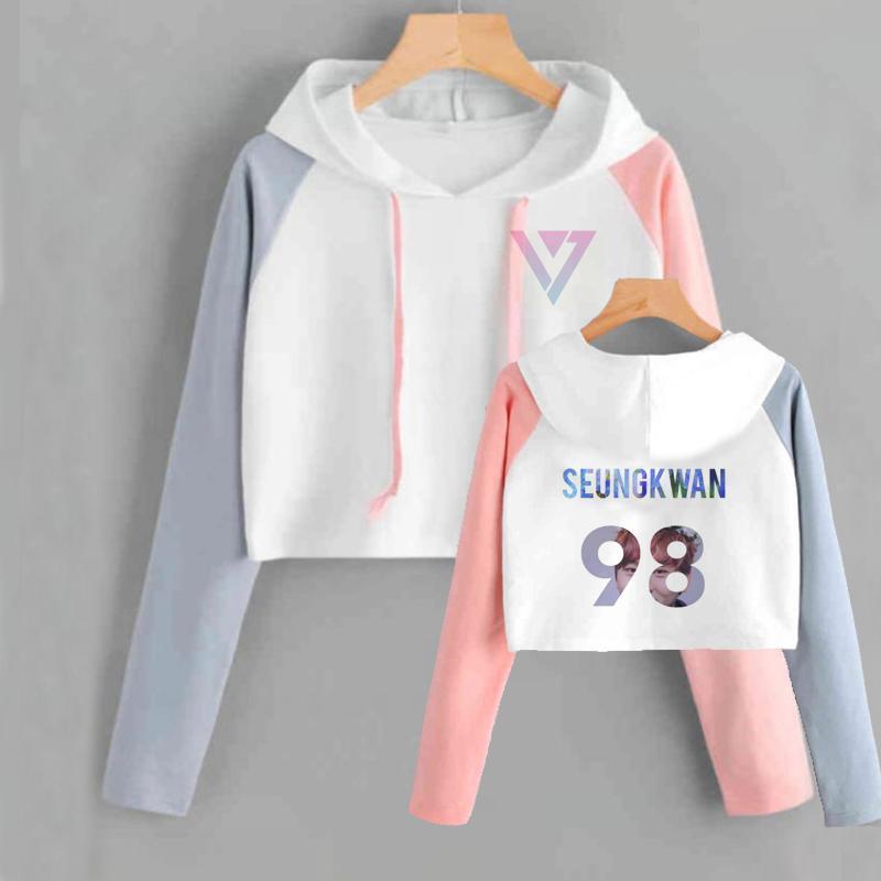 Crop Hoodies Sweatshirts Seventeen Tops Women Kpop Seventeen Album Scoups  Jeonghan Joshua Hoshi Wonwoo Woozi Dk The8 Sweatshirt