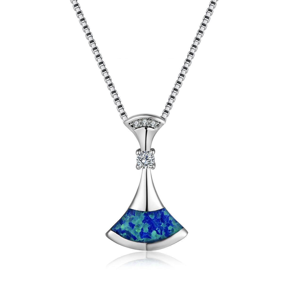 fa4450b7af69 Compre 2018 Nuevo Collar De Ópalo Azul De Lujo De Plata De Ley 925 Del  Sector Uniqe Collares Colgantes De Boda Regalo Para Mujer A  4.28 Del  Xincheng2017 ...