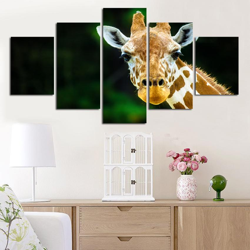 Painting Frame Art Poster Wall Picture 5 Panel Animal Giraffe Print On Canvas For Living Room Modern Printing Type Home Decor