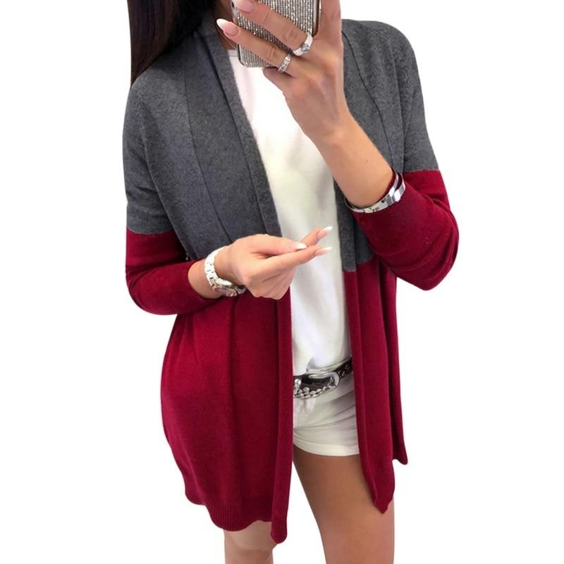 2a9b1a5a77 2019 LITTHING Plus Size Long Cardigan Women Patchwork Knitted Sweater Womens  Jumpers Warm Winter Long Sleeve Cardigan Feminino Z42 From Jilihua