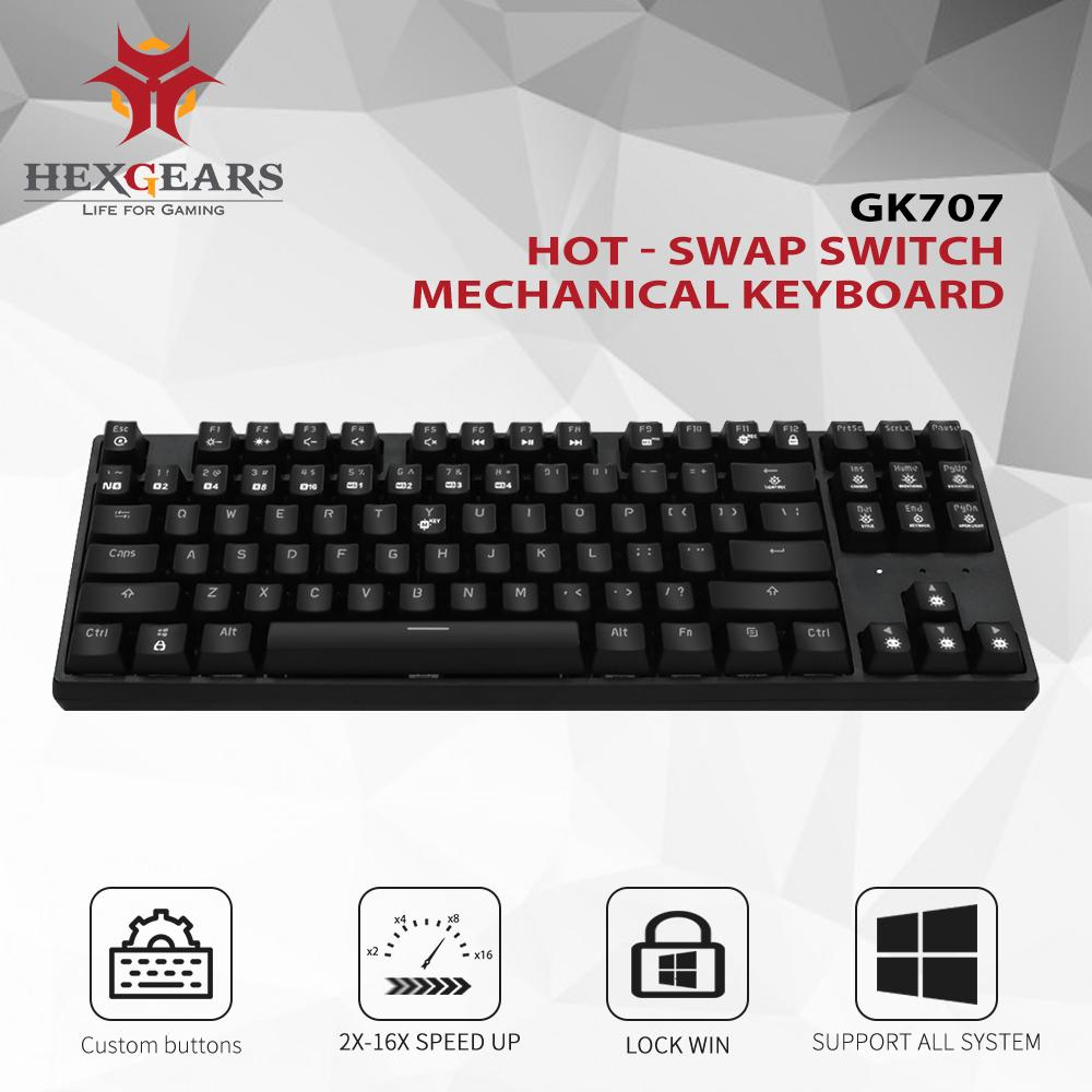 HEXGEARS 87 Key Hot Swappable Mechanical Keyboard Waterproof Kailh Box  Switch Gaming Keyboard Gamer with Backlight