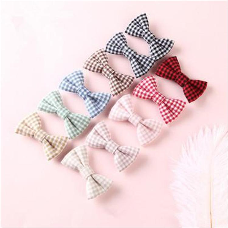 Kids hair accessories diy cloth hairpin small square bow girl hairpin word clip baby boutique hair accessories kids hairpin Wholesale KFJ767