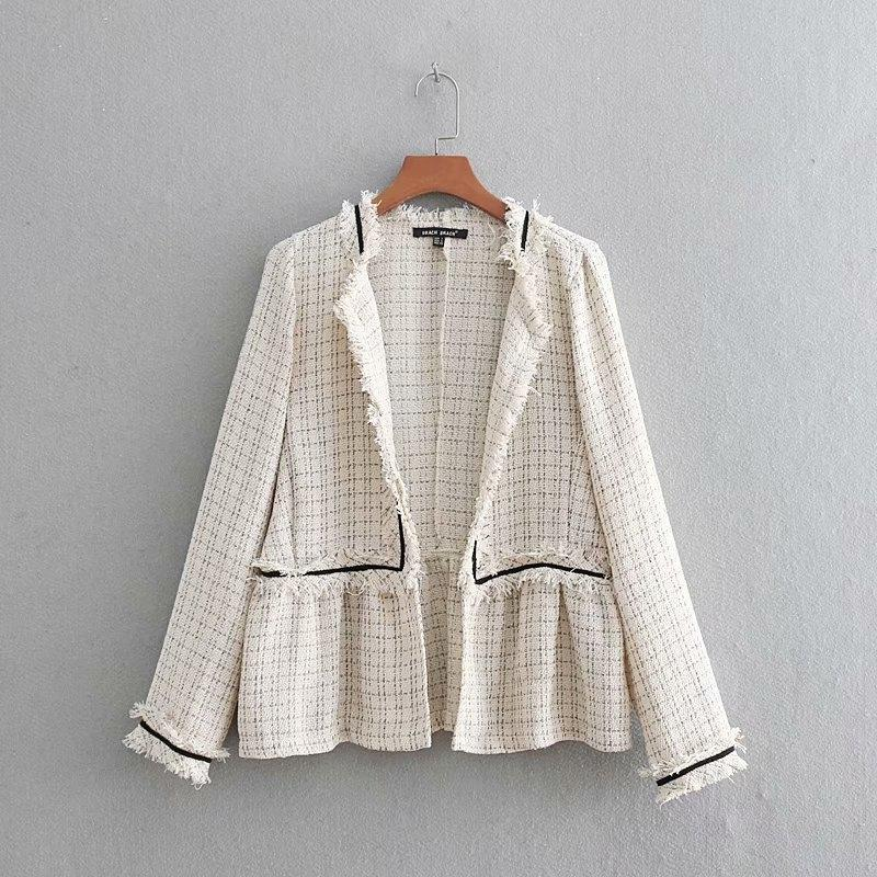 2019 Women Fashion Vintage open stitch tassel patchwork Tweed woolen coat casual ruffles Jacket Outwear plaid Coat Tops CT197 SH190905
