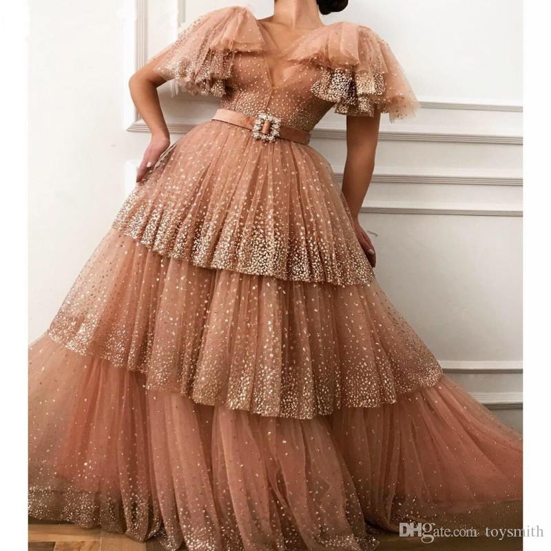 Glitter Sequin Coral Tulle Prom Dresses with Ruffled Sleeves V-neck Tiered Puffy Party Evening Gowns Long Special Occasion Dress